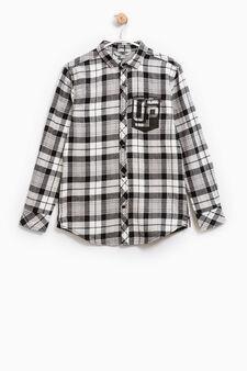 Camicia cotone fantasia a quadri, Nero/Bianco, hi-res