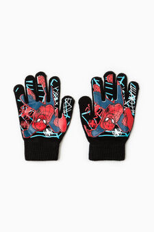 Solid colour gloves with Superman print, Black, hi-res