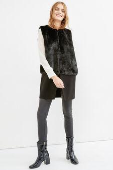 Fur waistcoat with hook fastening, Black, hi-res