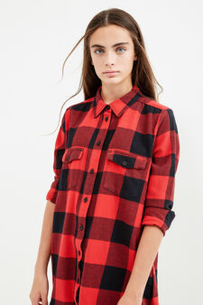 Teen check shirt in 100% cotton, Black/Red, hi-res