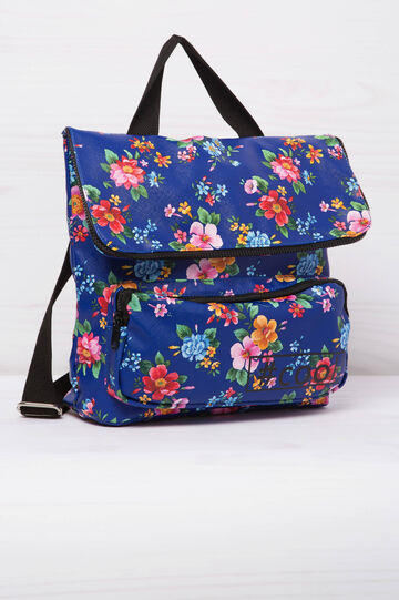Backpack with floral print, Blue, hi-res