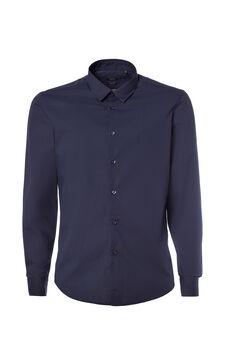 Solid colour slim fit shirt, Dark Blue, hi-res