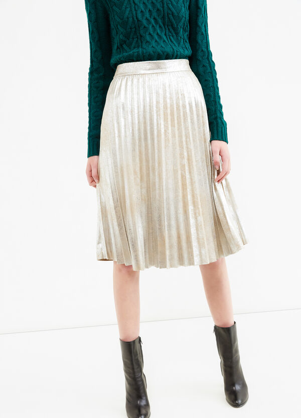 Pleated lined midi skirt | OVS