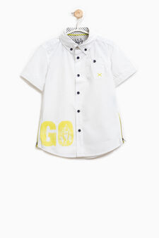100% cotton shirt with side zips, Off-white, hi-res