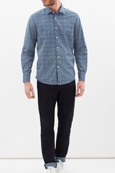 Slim fit floral cotton shirt, White/Blue, hi-res