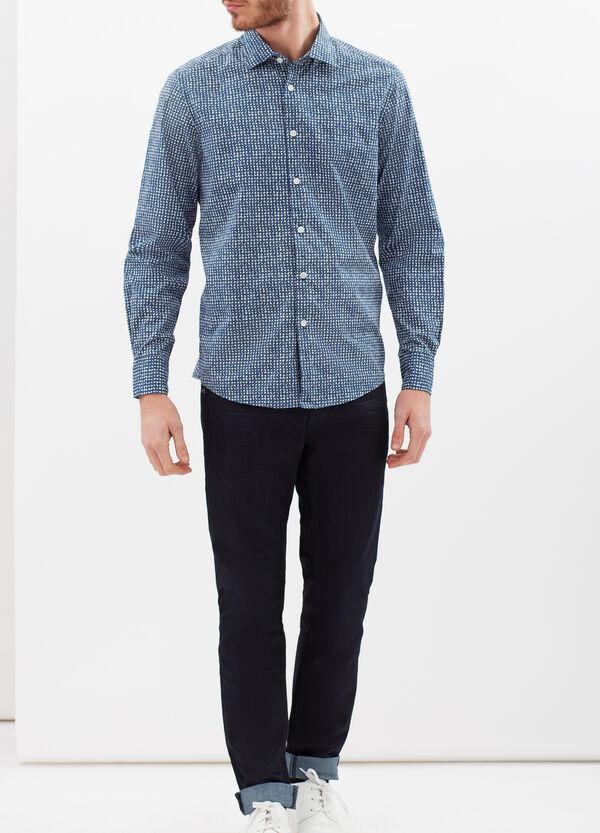 Slim fit floral cotton shirt | OVS