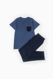 Short-sleeved cotton pyjamas, Blue, hi-res