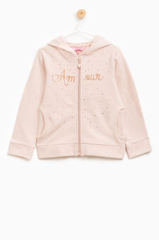 Printed hoodie with glitter and diamanté design, Pink, hi-res