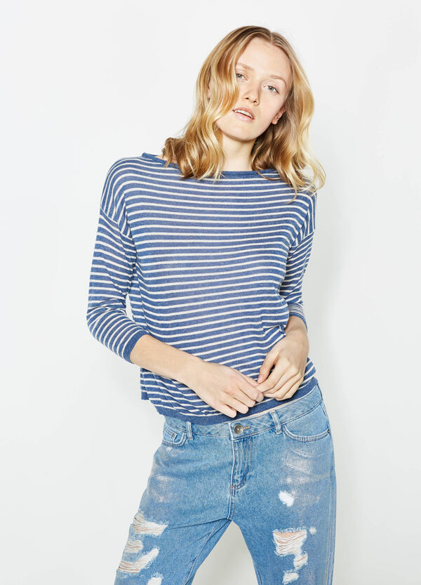 Pullover in linen blend with striped pattern | OVS