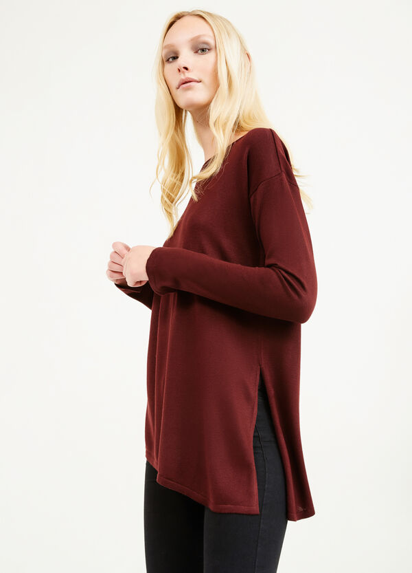 Viscose pullover with asymmetrical hem | OVS