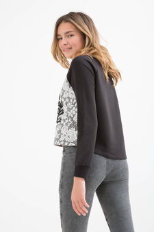 Embroidered sweatshirt with Teen print, Black, hi-res