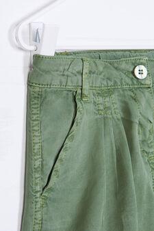 Solid colour 100% viscose shorts, Green, hi-res