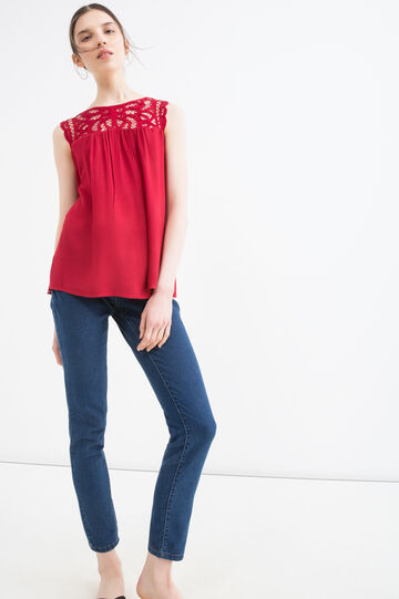100% rayon blouse with insert, Red, hi-res