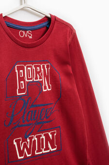 Long-sleeved T-shirt with ribbed collar, Red, hi-res