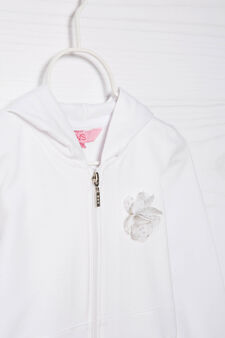 100% cotton sweatshirt with zip, White, hi-res