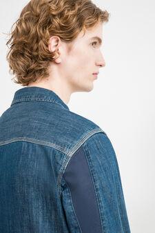 Slim-fit casual denim shirt, Denim, hi-res