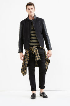 Wool blend jacket with leather-look inserts., Black, hi-res