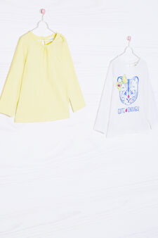 Set due t-shirt puro cotone, Bianco/Giallo, hi-res