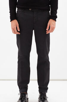 Stretch cotton trousers with crease, Blue, hi-res