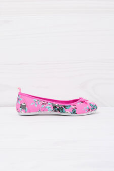 Printed ballerina flats with bow, Neon Pink, hi-res