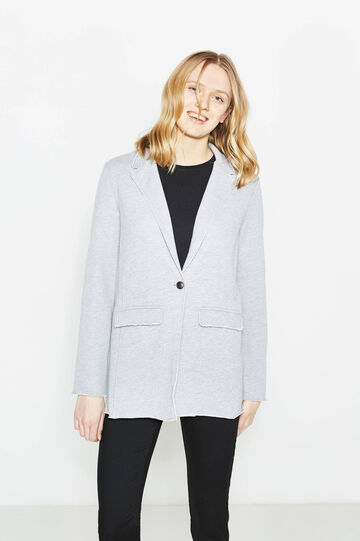 Single-button blazer with raw edges, Light Grey, hi-res