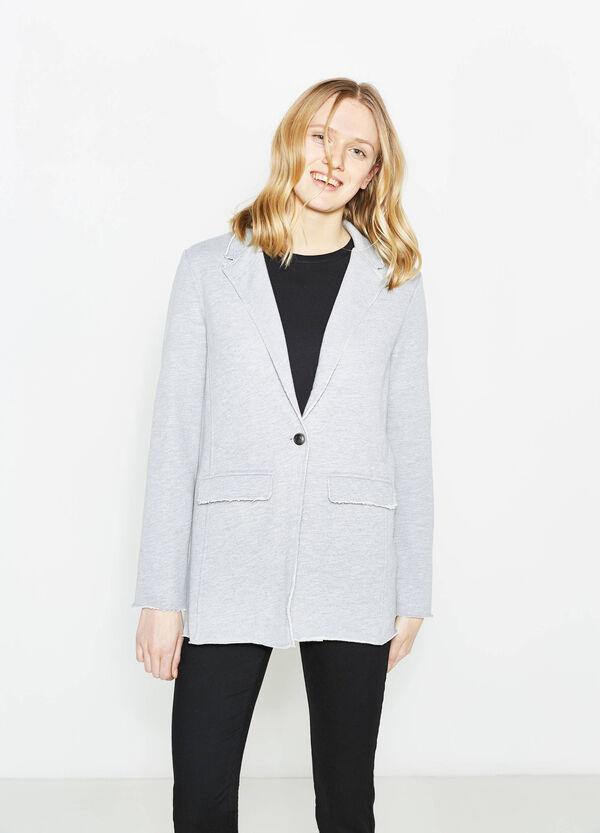 Single-button blazer with raw edges | OVS