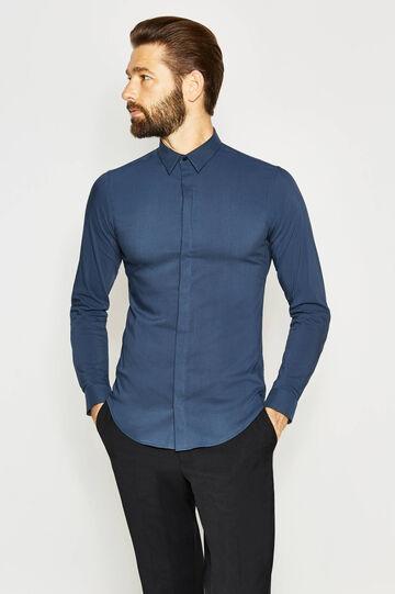 Camisa formal custom fit de algodón, Azul oscuro, hi-res