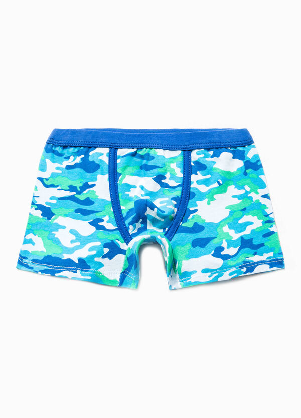 Stretch cotton boxer shorts with all-over print | OVS