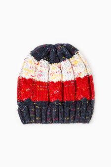 Striped cotton knitted beanie cap, Multicolour, hi-res