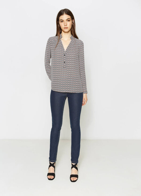 V-neck patterned blouse | OVS