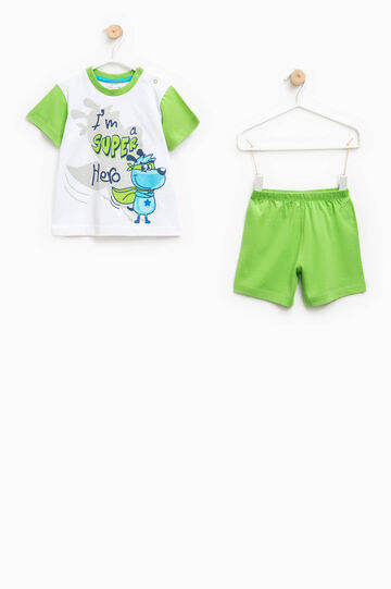 Top and shorts pyjama set, White/Green, hi-res