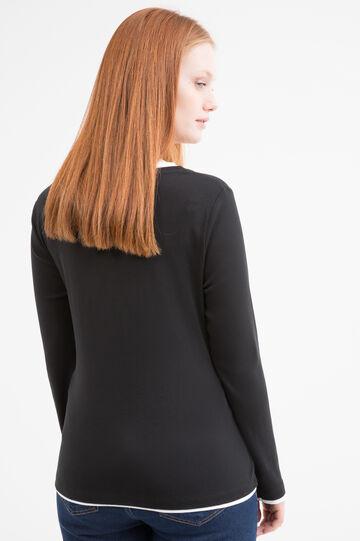 Curvy cotton layered effect T-shirt, Black, hi-res