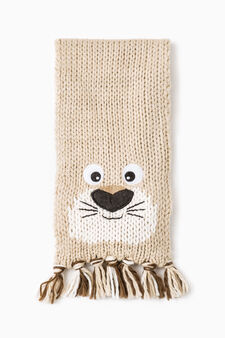 Knitted scarf with contrasting patch, Beige, hi-res