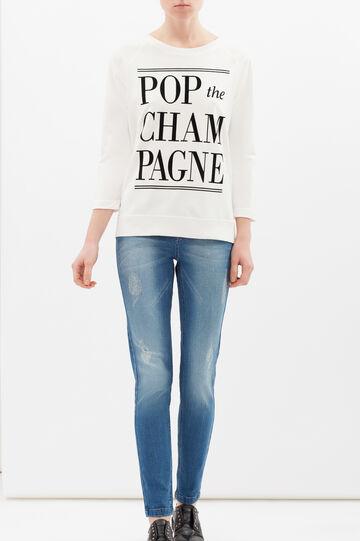 Cotton blend sweatshirt with print, Milky White, hi-res
