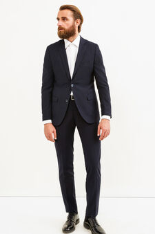 Elegant, slim-fit suit in viscose, Dark Blue, hi-res