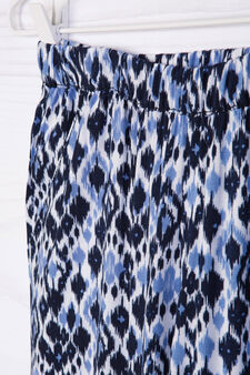 Printed trousers in 100% viscose, Cream, hi-res