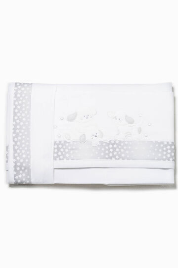 Bed sheet with star trim, White/Brown, hi-res