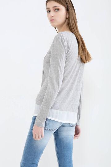 Viscose blend T-shirt with insert