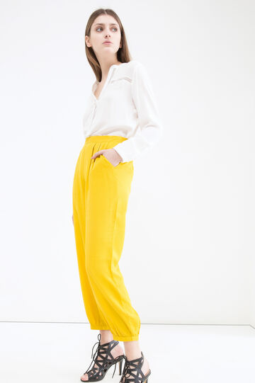 Trousers with high elasticated waist, Yellow, hi-res