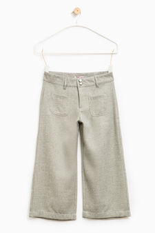 Viscose and lurex wide trousers, Grey, hi-res