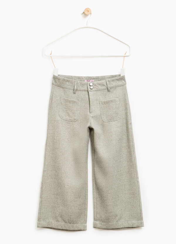 Viscose and lurex wide trousers | OVS