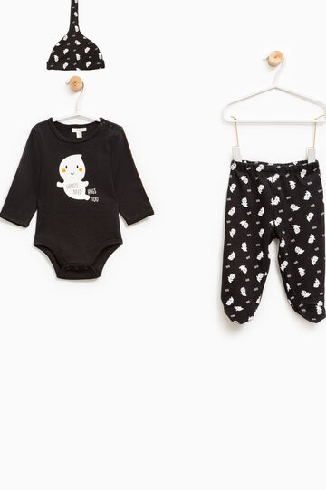 Bodysuit and trousers with feet set with ghost motif, Black, hi-res