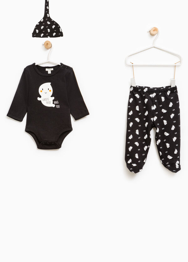 Bodysuit and trousers with feet set with ghost motif | OVS