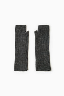 Long fingerless gloves, Dark Grey Marl, hi-res