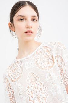 Solid colour short openwork blouse, White, hi-res