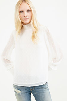 Blouse with long sleeves and high neck, White, hi-res