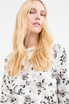 Cotton blend patterned sweatshirt, Milky White, hi-res