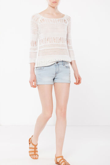 Denim shorts with turn-up hems, Light Wash, hi-res