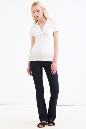 Polo shirt in 100% cotton with rhinestone buttons, White, hi-res
