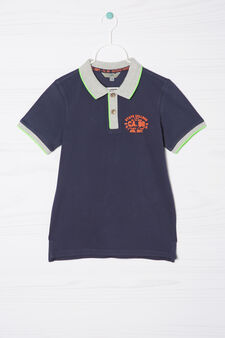 100% cotton polo shirt with small print, Denim Blue, hi-res